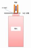 乾電池とタブ端子のスポット溶接.png