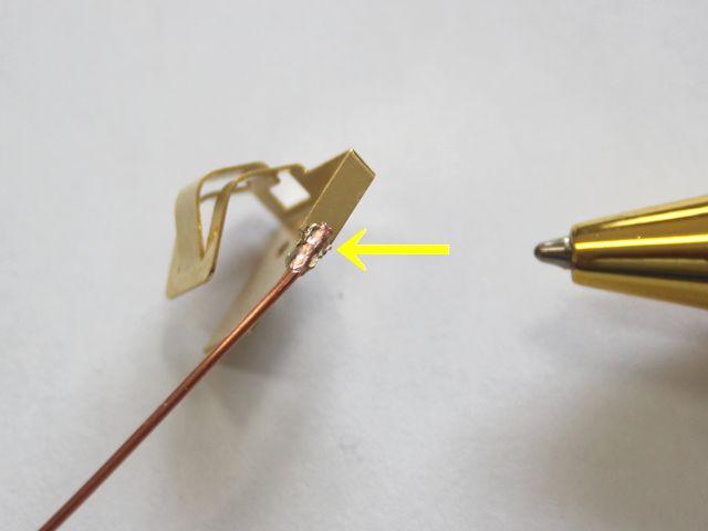 端子と銅単線のスポット溶接画像