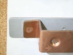 無酸素銅(C1020)と鉄(SPCC)のスポット溶接画像