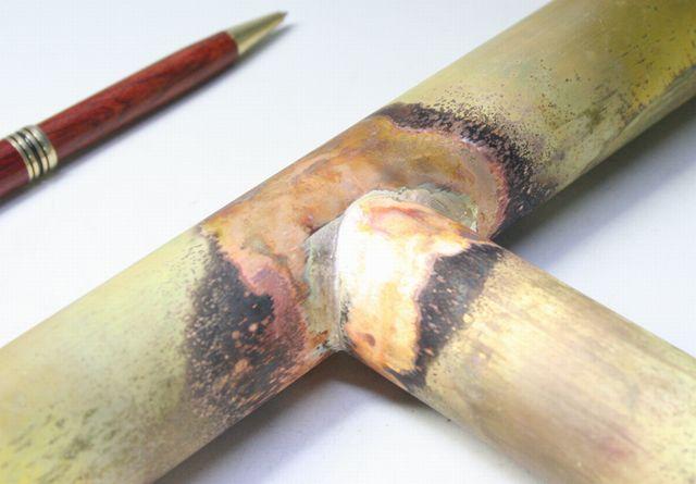 真鍮パイプ ロウ付け画像