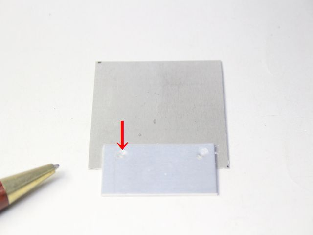 マグネシウム板と、アルミ板のスポット溶接画像