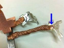 軟銅撚り線の端子スポット溶接画像