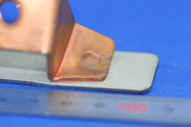 銅(C1020)とSECCのスポット溶接画像