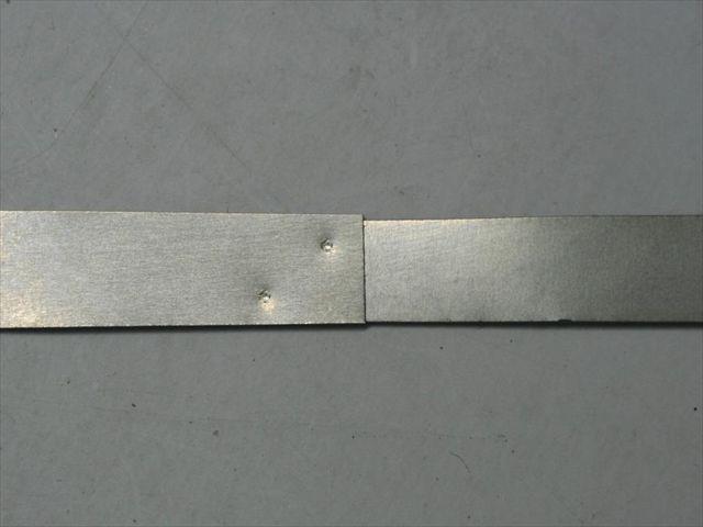 純チタン(t=0.1)のスポット溶接テスト画像